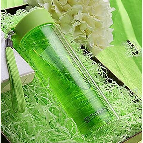bz Doppio vetro trasparente copertura creativo portatile con auto Tazze Uomini E Donne Sport Acqua Cup ( colore : Verde )