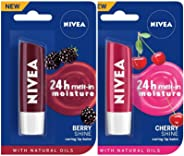 NIVEA Lip Balm, Blackberry Shine, 4.8g and NIVEA Lip Balm, Cherry Shine, 4.8g