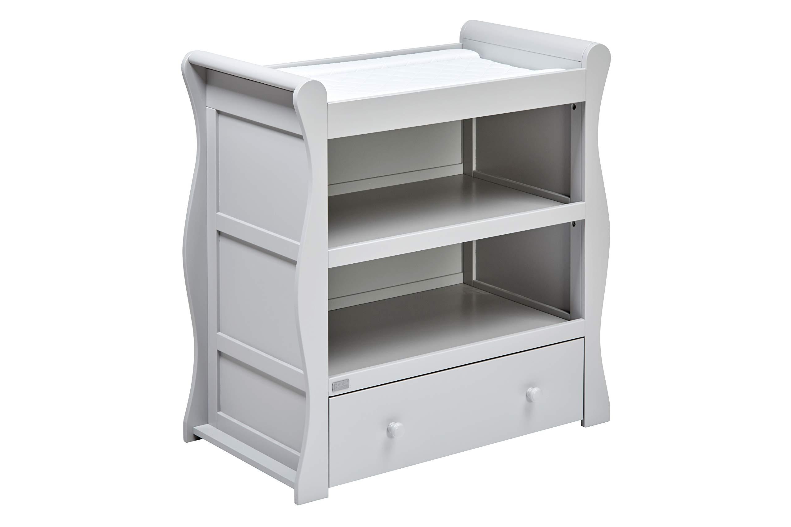 East Coast Nebraska Sleigh Dresser, Grey East Coast Integral changing area 1 Storage drawer 2 open storage areas 2