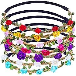 Corona de Flores Colorido Guirnalda de La Flor con La Cinta Elástica Ajustable, 7 Piezas