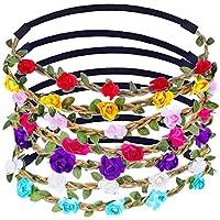 eBoot Mehrfarbig Floral Blume Stirnband mit Verstellbarem Elastikband, 7 Stück