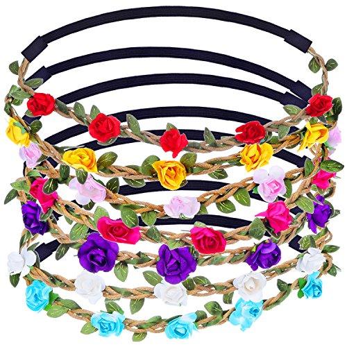 Mehrfarbig Floral Blume Stirnband mit Verstellbarem Elastikband, 7 Stück