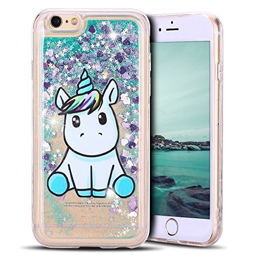 Mosoris Coque iPhone 6S Glitter Liquide Cover Mode 3D TPU Etui Licorne iPhone 6 Transparent Souple Silicone Etui Housse Bling Paillettes Flowing Sand Case pour iPhone 6/6S, Vert