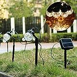 Salcar 3 Meter Solar LED Lichterkette mit 8-Kugeln, USB-Stecker, Erdspieß für Garten, wasserdicht IP44, innen & außen, dynamische Lichteffekte (Warmweiß)