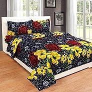 Home Garage Microfibre 144 TC Bedsheet (Standard_Black)