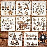 Kompanion Set di Figurine di Natale Decorazione in Plastica per Cartoline di Natale e Manufatti per Bambini Lavabile 8 Diversi Disegni