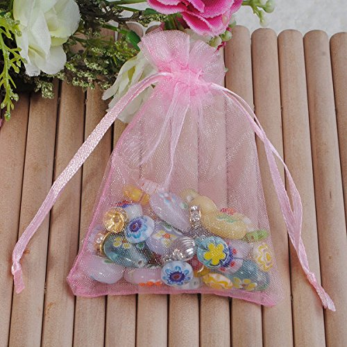 Bazaar 25pcs Organza Rose Sac de Bonbons Bijoux Cadeau de faveur Pochette Cadeau de Mariage l'emballage