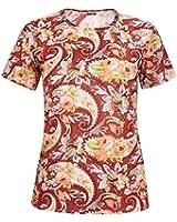Womens Plus Size Paisley Floral Print Ladies Short Sleeve Ladies Round Neckline Long Tunic T-Shirt Top