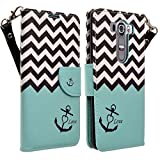 LG V10 Case, LG V10 Wallet Case - Magnetic PU Leather Flip Wallet Folio Pouch Case Cover With Kickstand Feature and Detachable Wrist Strip For LG V10 - Teal Chevron Anchor