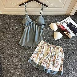 MDHDSY Fashion Pyjamas Shorts de Pyjamas pour Femmes Combinaisons de Nuit Vêtements de Nuit Costumes Homewear Nighty L lac Bleu