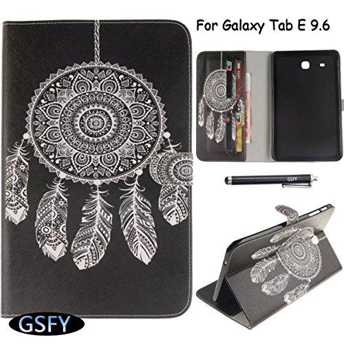 Newshine Schutzhülle für Samsung Galaxy Tab E 9.6 SM-T560 (mit Standfunktion, integrierte Kartenfächer) für Samsung Galaxy Tab E 9.6 2015 (Nicht geeignet für Tab E Nook 9.6), 2 Dream Catcher-Black -