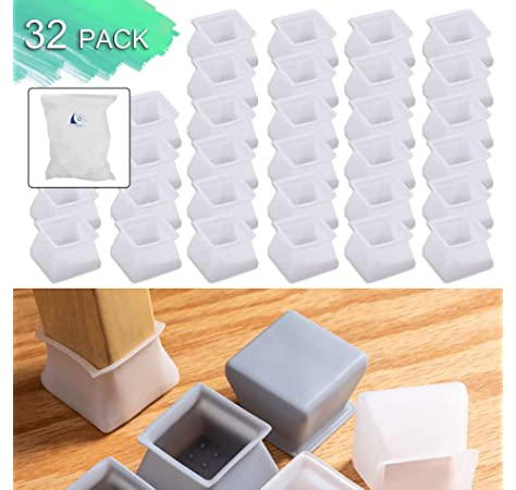 Geila Silicone Furniture Chair Legs Caps 40 Pack Furniture Leg Protection Covers 20 pcs Round + 20 pcs Square Anti-Slip Table Feet Pad Floor Protectors Prevent Scratch and Noise