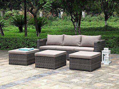 Preisvergleich Produktbild JACK Lounge Gartenmöbel Gartenset 14-teilig Zebra Poly Rattan Taupe