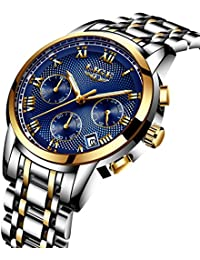 Watches Mens Watches Fashion Sports Luxurious Waterproof Style Stainless Steel Waterproof Analog Quartz Chronograph Date Multifunctional Casual Elegant Silver Gold Watches