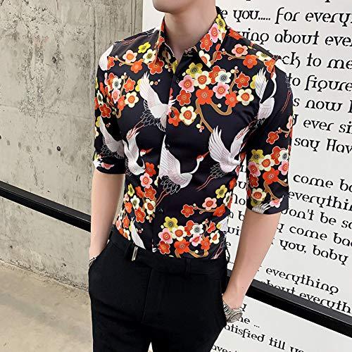 MKDLJY Herren-Hemd 2019 Sommer Herren Hemd Blumendruck Kurzarm Businesshemd Casual Slim Fit Social Shirts Nachtclub Tuxedo -