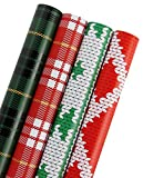 RUSPEPA Christmas Gift Wrapping Paper-Wool And Grid Pattern Perfetto Per Natale-4 Roll-76Cm X 305Cm Per Rotolo