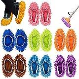 7 Paare Staubmopp Wischmop Bodenreiniger Hausschuhe Schuhreinigung Komfortable waschbar,DIKETE Polieren Staubwischen reinigen Fuß Socken Schuhe Mop Hausschuhe Multifunktion in 7 Farben
