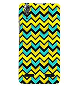 Printvisa Premium Back Cover Multicolour Zigzag Pattern Design For Lenovo A6000 Plus