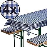 4x Bierbankauflagen-Set 3-teilig in blau: 1 Tischdecke 130 x 70 cm + 2 gepolsterte Bierbankauflagen 110 x 25 cm