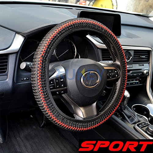 AST Works Sport Sandwich Fabric Elastic Car Auto Steering Wheel Cover 38cm Hand Made