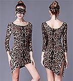 peiwen Señoras Vestido de Leopardo/Traje de Baile Latino de Entrenamiento/espectáculo de Danza de Etapa/Estiramiento Falda Ajustada, f