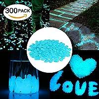 Cozzine Piedras Decorativas Brillantes, Piedras Luminosas para Decoración de Jardín, Acuario, Pecera, Walkway, Artificiales (300 Piezas)