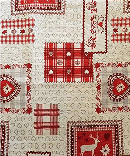 Sprügel Hirsch Romantik - Tischdecke 85 x 85 cm - Sekt/Rot
