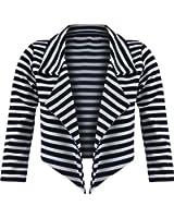 Waterfall Blazer Cropped 3/4 Sleeve Bolero Top Open Cardigan Womens Ladies 8-14