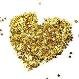 euhuton 60 Gramos / 2.1 Onza Estrellas Lentejuelas Confeti de Estrella Dorado para Manualidades DIY Fiesta Boda (2 tamaños)