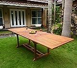 Tavolo da giardino in teak, dimensioni XXL, con doppia prolunga a farfalla 200-300 cm
