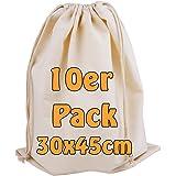 Cottonbagjoe Katoenen tas, stoffen tas, met trekkoord, 30 x 45 cm, Zero Waste, groentezak, lunchtas, cosmeticatas, sokkenzak,