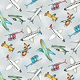 Flughafen Flugzeuge Stoff–0,5Meterware–von