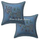 Stylo Culture ethnischen dekorative Kissen für Bett blau Zari Bestickte Sofa Kissenbezüge 16 x 16 Baumwolle Platz traditionelle Elefant 40 x 40 cm Kissenbezüge (Satz von 2 Stück)