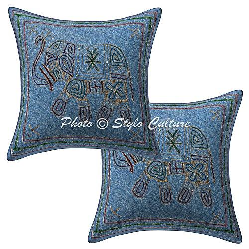 Stylo Culture ethnischen dekorative Kissen für Bett blau Zari Bestickte Sofa Kissenbezüge 16 x 16 Baumwolle Platz traditionelle Elefant 40 x 40 cm Kissenbezüge (Satz von 2 Stück) (Bestickte Bett-satz)