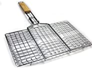 BBQ Grill Basket - Charcoal BBQ Mesh Clamp Grill Tool - with Wooden Handle