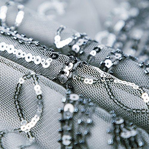 Metme Damen 1920er Jahre inspiriert klassischen V Ausschnitt ärmellose Perlen Pailletten Great Gatsby Kleid Partei Kleidung Graues Silber