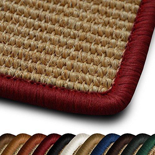 casa pura Sisal Läufer Teppich myStyle | Kettelung in Wunschfarbe | Naturfaser | viele Größen zur Auswahl (Kettelung Rot, 80x800 cm)