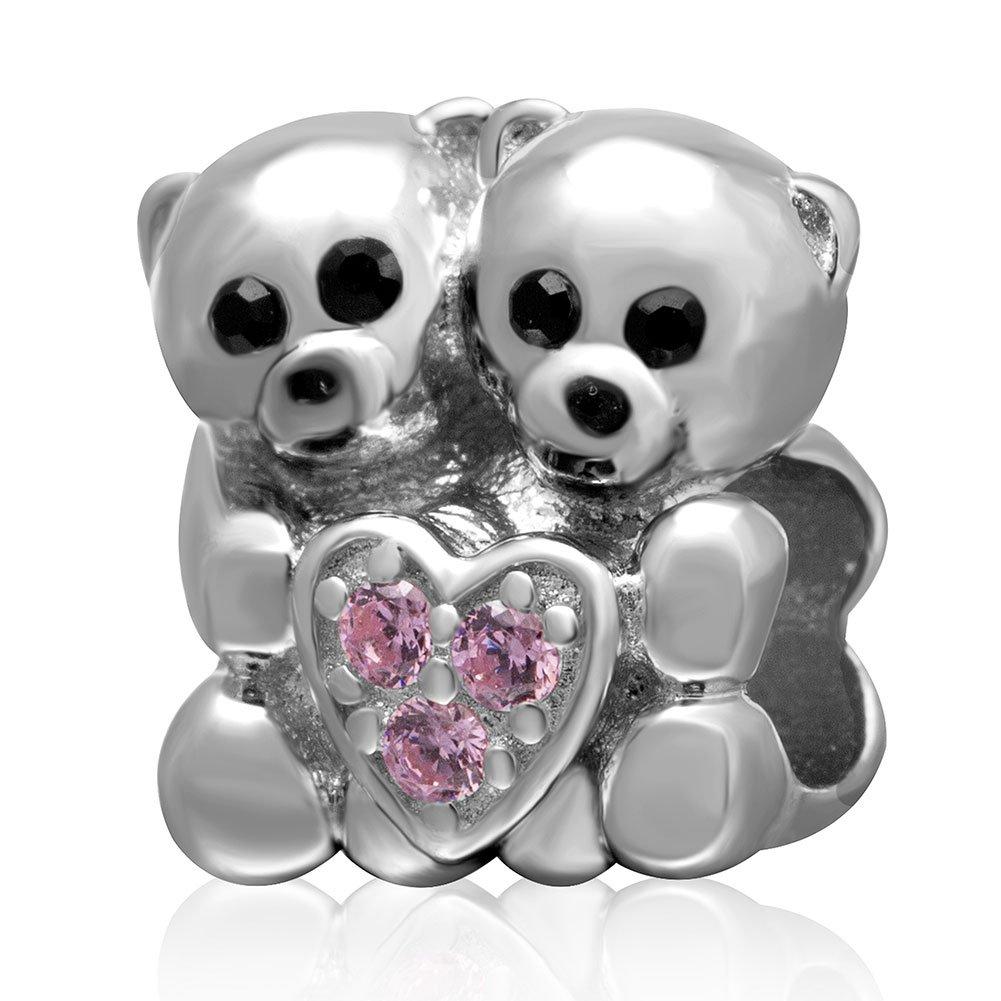 Lovers Bear Hug ciondoli a forma di cuore con rosa zirconi pietre argento sterling 925coppia animal