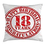 18th Birthday Decoration Throw Pillow Cushion Cover, Vintage Happy Birthday Sweet Eighteen Stamp Icon Image Print, Decorative Square Accent Pillow Case, 18 X 18 inches, Red and White