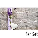 matches21 Tischsets Platzsets MOTIV Lavendel auf Holzbrett 8 Stk. Kunststoff abwaschbar je 43,5x28,5 cm