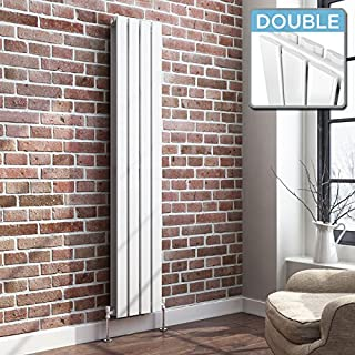 iBathUK | 1600 x 300 Vertical Column Designer Radiator White Gloss Double Flat Panel
