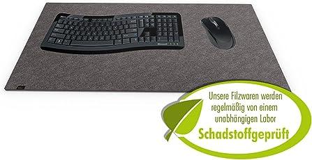 Designer Filz Schreibtischunterlage dunkelgrau in XXL (ca. 40x80cm groß). Originelle Schreibunterlage - besonders weich und komfortabel. Die coole Alternative zur Papier- oder Leder Schreibtischunterlage.