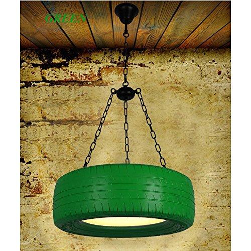HAOHE LED 30W bunte Reifen-hängende helle Decken-Lampe industrielle Retro- Land-Weinlese-Art-Speisesaal-Gaststätte-Stab-Kaffee-Beleuchtung-Kronleuchter, green Acryl-schmetterling-kuchen-stand