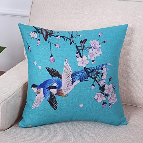 Amerikanische Blau-kissen (POPRY Chinesische Blume und Vogel Blau und Gelb Baumwolle Kissen Creative Drucken amerikanische Sofakissen Cafe Taille Taille Kissen 30 X 50 chinesischen B)