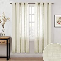 Linenwalas Cotton Linen Solid Sheer Curtain Set with Eyelet Rings Non Blackout Window Curtain - Set of 2 -Ivory - 4.5ft…