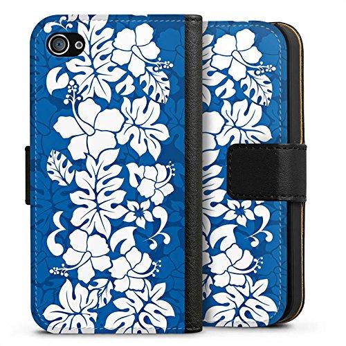 Apple iPhone X Silikon Hülle Case Schutzhülle Flower Muster Ornament Sideflip Tasche schwarz