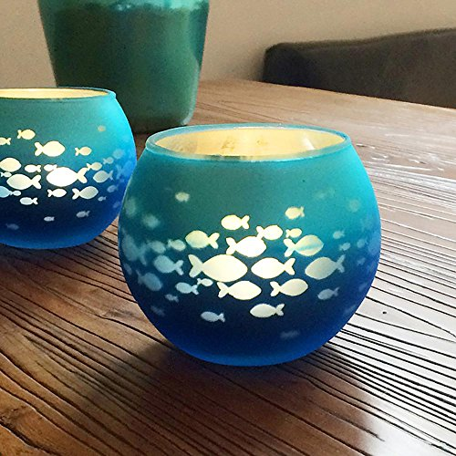 Glass Votive Candle Holder, Fish Bowl Candle Holder with Mosaic Glass,Handmade Artwork for Happy Birthday, Home Decor, Christmas, Wedding Party,, Blue Color