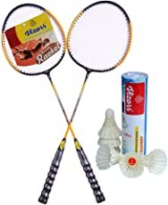 Vizorr Combo of 20-20 Professional Badminton Racket for Fitness Lovers Multicolor Badminton Racquetand Aerotic-001 Shuttle Cock Feather Shuttle (Fast,79,6 pcs.)