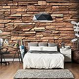 murando - Fototapete 400x280 cm - Vlies Tapete - Moderne Wanddeko - Design Tapete - Wandtapete - Wand Dekoration - Steine Steinmauer braun Steinoptik f-B-0031-a-a