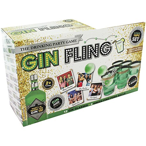 Gin Fling Ping Pong Adult Drinking Party Game 16pc Set